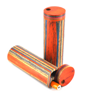 "Round Cylinder Wooden Dugout with Metal Bat Cigarette Set 4.25"""