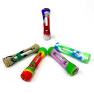 "3"" Silicone Chillum Pipe w/ Glass Inside Assorted Colors 1 Count"