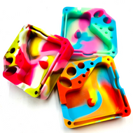 Silicone Glow In The Dark Dabber Ashtray with Tool Holsters and Bowl Knockout - Random Color