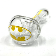 "Clear Colorado Blown, Sand Carved and One Color Painted Glass Hand Pipe 5""+-"