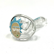 "Clear Colorado Blown, Sand Carved and Mulit Painted Glass Hand Pipe 5""+-"