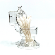 """Clear Glass Toilet Cotton Swab Q-Tip ISO Alcohol Station Holder 4"""""""