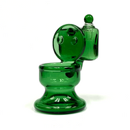 """Green Glass Toilet Cotton Swab Q-Tip ISO Alcohol Station Holder 4"""""""