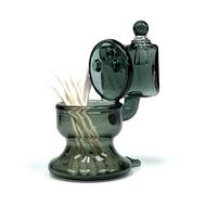 "Black Glass Toilet Statue Cotton Swab Q-Tip QTIP Holder / ISO Alcohol Station 4"""