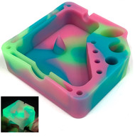 Silicone Glow In The Dark Dabber Ashtray with Tool Holsters and Bowl Knockout - Green Blue Pink