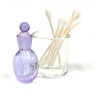 "Purple Glass Cotton Swab Q-Tip Holder / Alcohol ISO Station 3.5"""