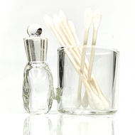 """Clear Glass Cotton Swab Q-Tip Holder / Alcohol ISO Station 3.5"""""""