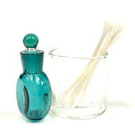"Dark Green Glass Cotton Swab Q-Tip Holder / Alcohol ISO Station 3.5"""