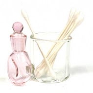 Pink Glass Cotton Swab Q-Tip Holder / Alcohol ISO Station 2.5""
