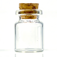 "Tiny Glass Bottle Jar 5ml w/ Real Cork  1.1"" x . 8"""