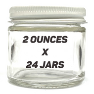 "2"" 2oz Glass Jar w/ White Lid (24 PACK CASE)"