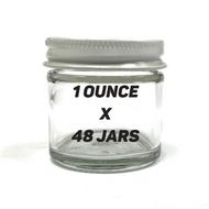 "1.5"" 1oz Glass Jar w/ White Lid (48 PACK CASE)"