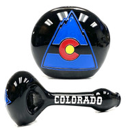 "Colorado State Mountain Glass Pipe! Black Colorado Blown, Sand Carved and Multi Painted Glass 5""+-"