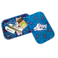Blue with Purple Accents Afghan Hemp Magnetic Rolling Tray with Papers and Wick 9""