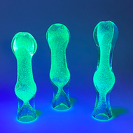 """Glow In The Dark 3""""-4"""" Glass Chillum with Flat Mouth Bit V2"""