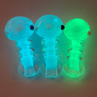 """Glow In The Dark Lil Baby Three Rings 3"""" Glass Hand Pipe"""