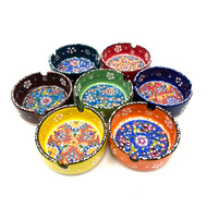 Hand Painted Turkish Ceramic Ashtray Assorted Colors 1 Count 3""
