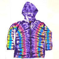 Purple Second In Command Tie Dye Long Sleeve Cotton Pullover w/ Zipper & Hood (EXTRA LARGE)