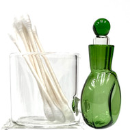 Fresh Green Glass Cotton Swab Q-Tip Holder / Alcohol ISO Station 3.5""