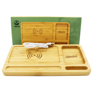 "Afghan Hemp Bamboo Rolling Tray w/ Wireless Phone Charging Pad 10"" x 6"""