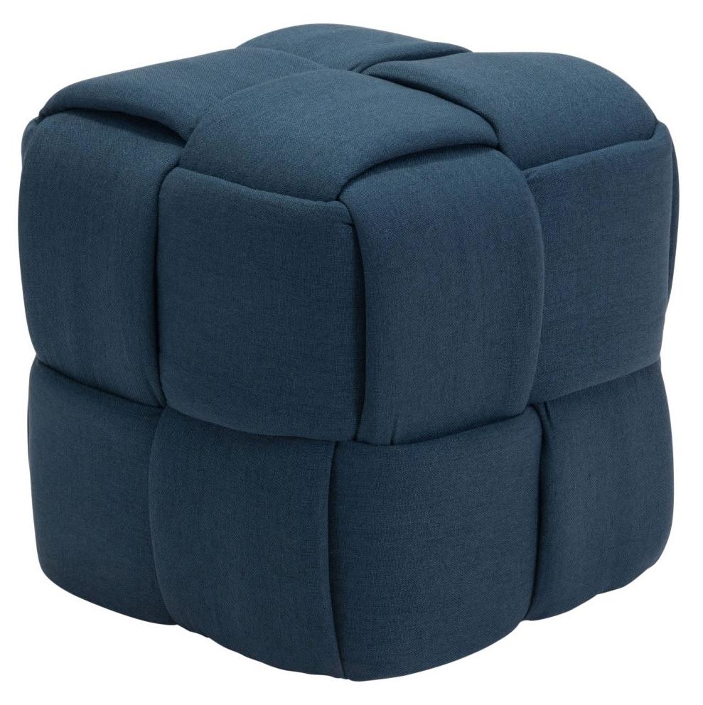 checks stool navy blue