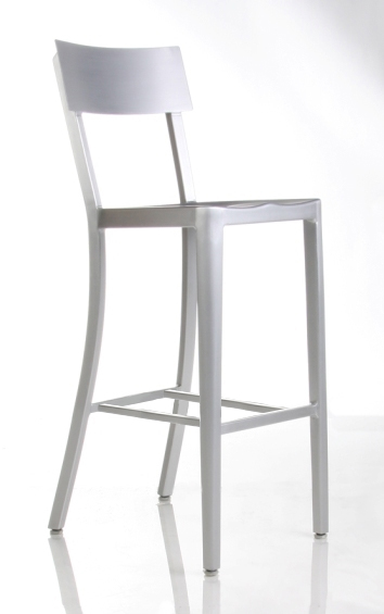 Cafe Aluminum Bar Stool Front View