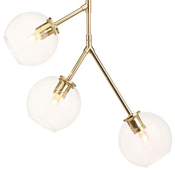 nuevo living atom 3 pendant polished gold