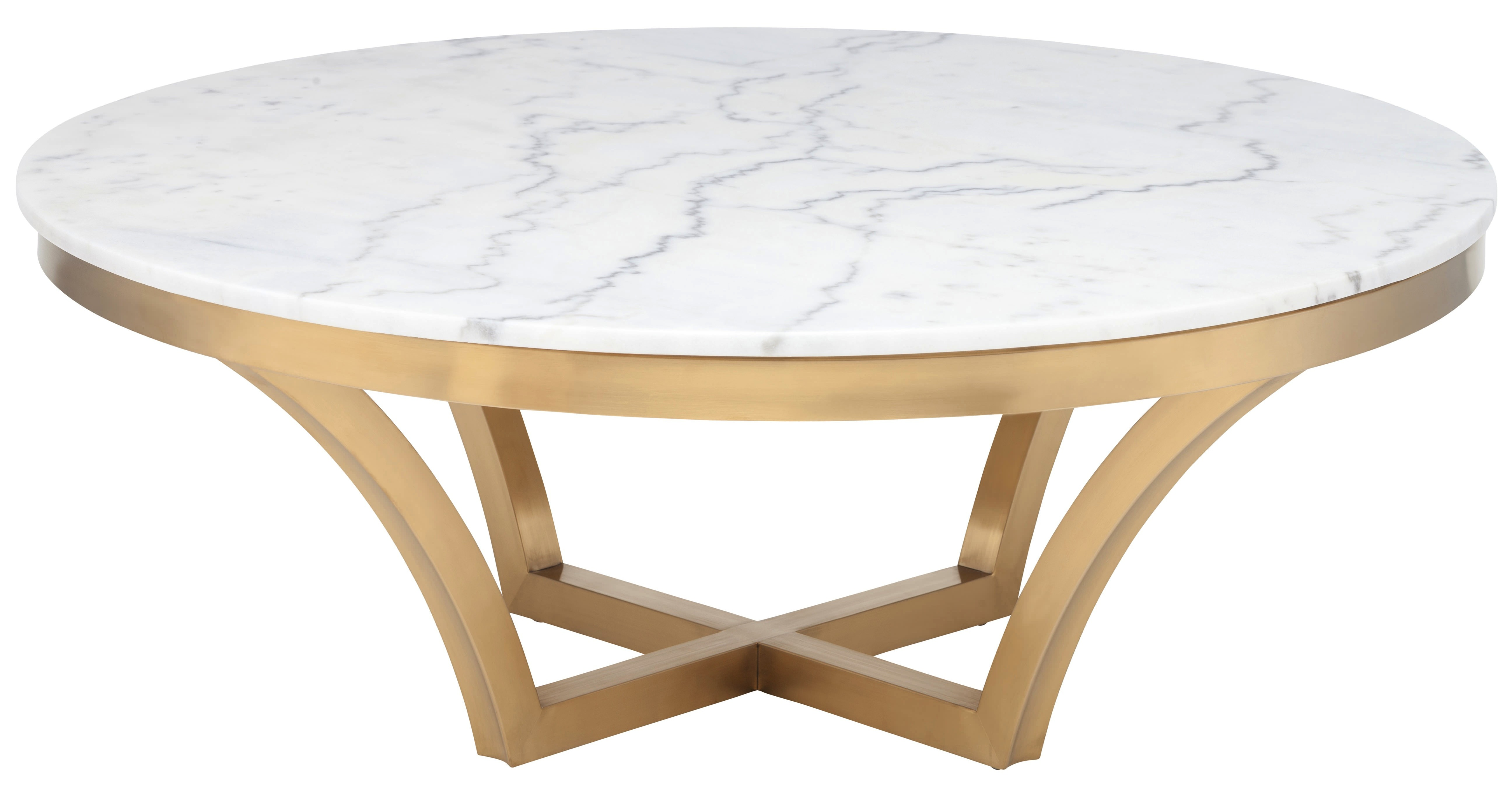 Nuevo Aurora Coffee Table In Brushed Gold Base And White Marble Top Free Shipping
