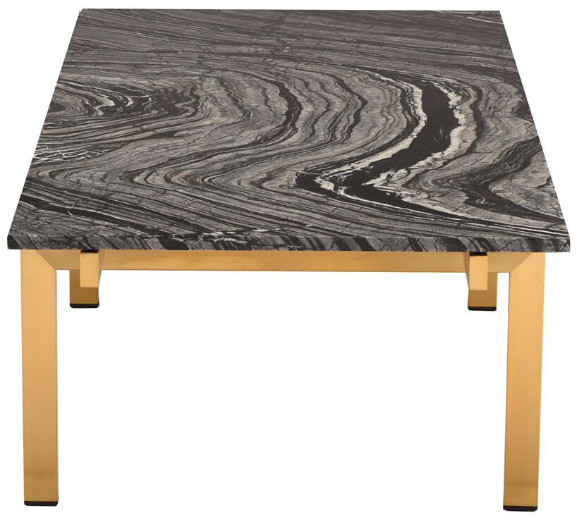 nuevo living black marble brushed gold louve coffee table