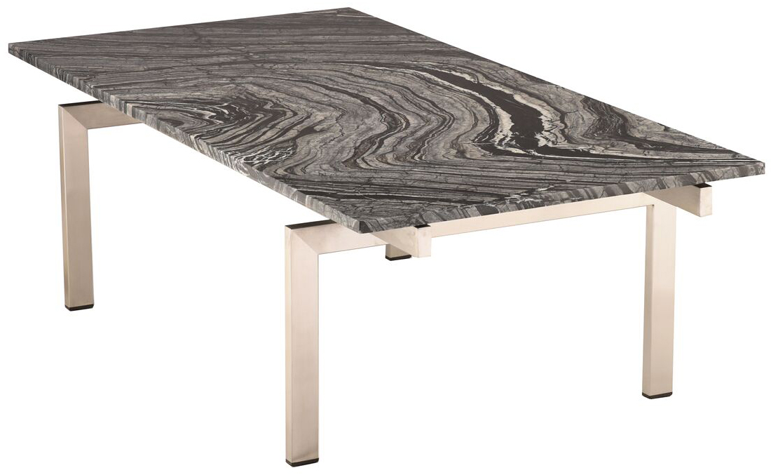 nuevo living black marble brushed stainless steel louve coffee table