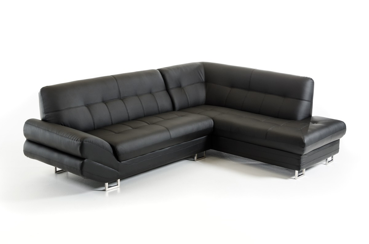 This bonded leather sectional is is contemporary called Arianna Nero.