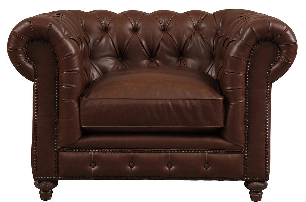 new brown chesterfield leather club chair available at AdvancedInteriorDesigns.com
