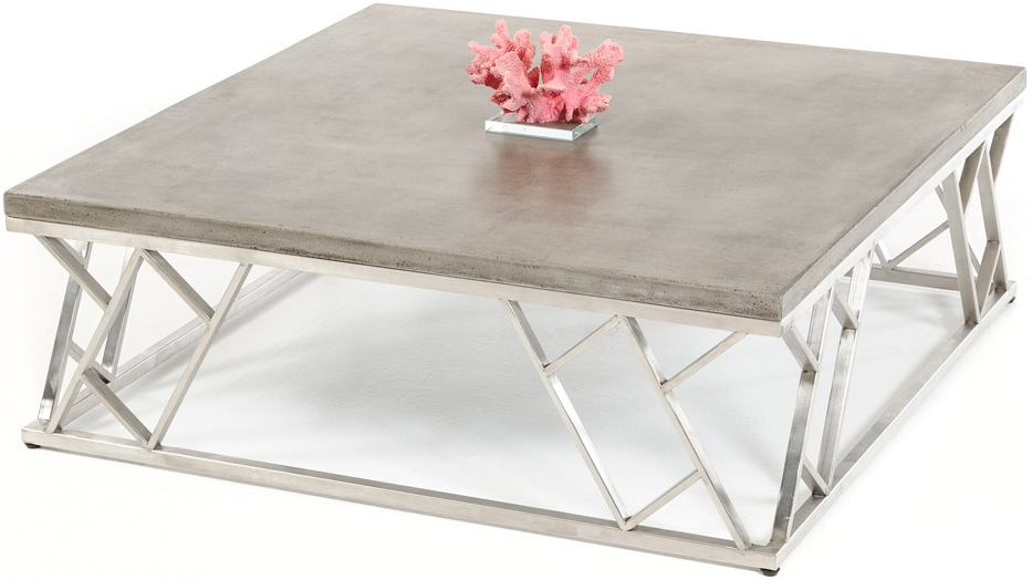 This coffee table concrete piece is the perfect addition for any living space.