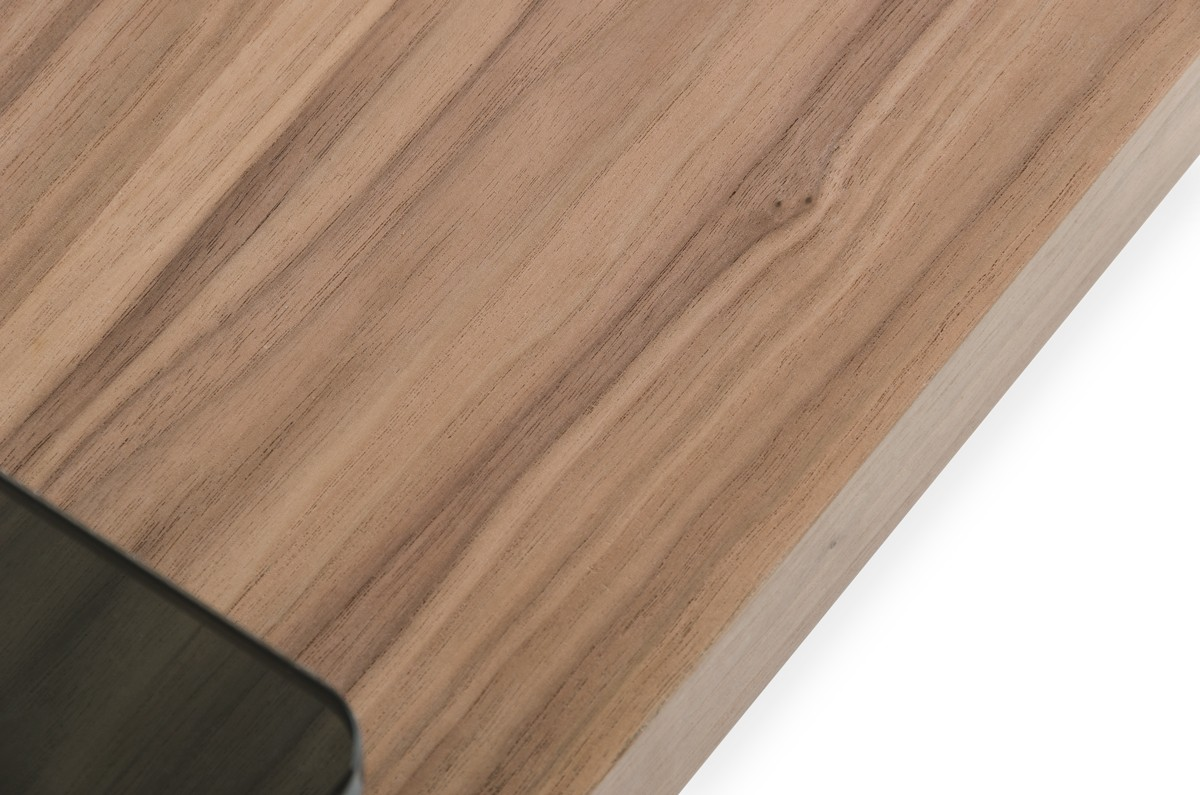 This is a close up shot of the Calvino Modern Walnut Coffee Table.