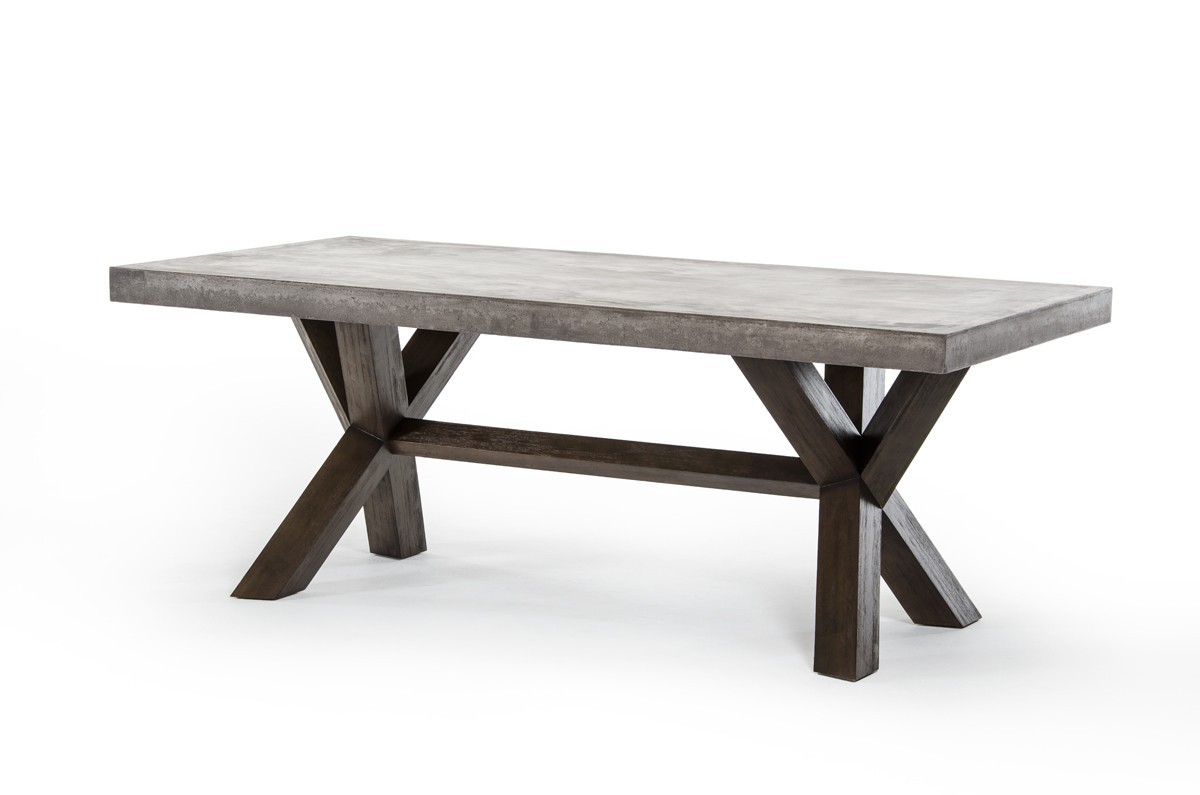 This is an urban industrial dining table favorite. The Adonis Dining Table is made from solid acacia wood and recycled concrete