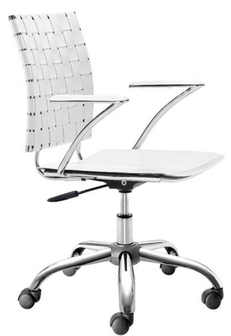 zuo 205031 criss cross office chair white for sale
