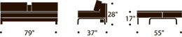 measurements for dual oak sofa