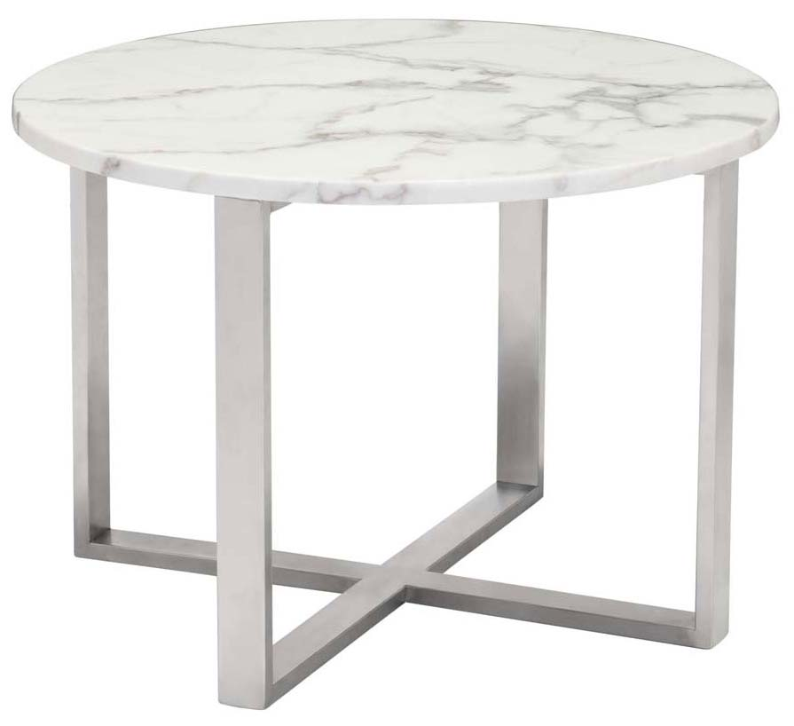 globe end table stone stainless steel