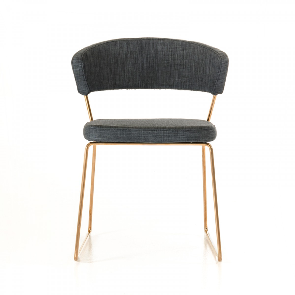 gray fabric dining chair with rose gold frame
