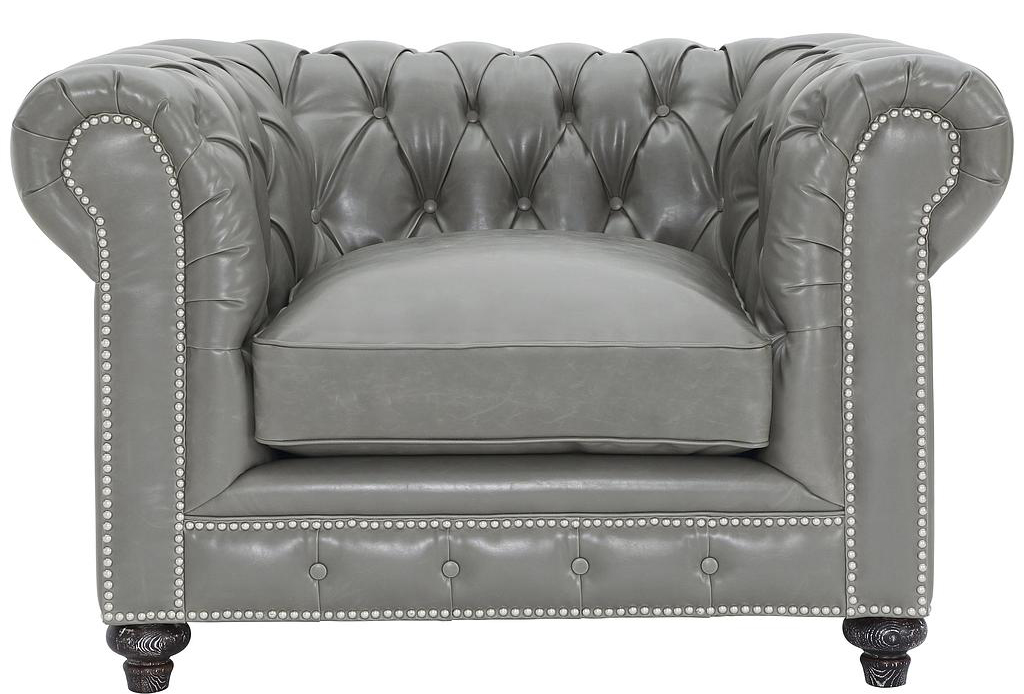 Find a brand new grey chesterfield armchair at discount at Advanced Interior Designs