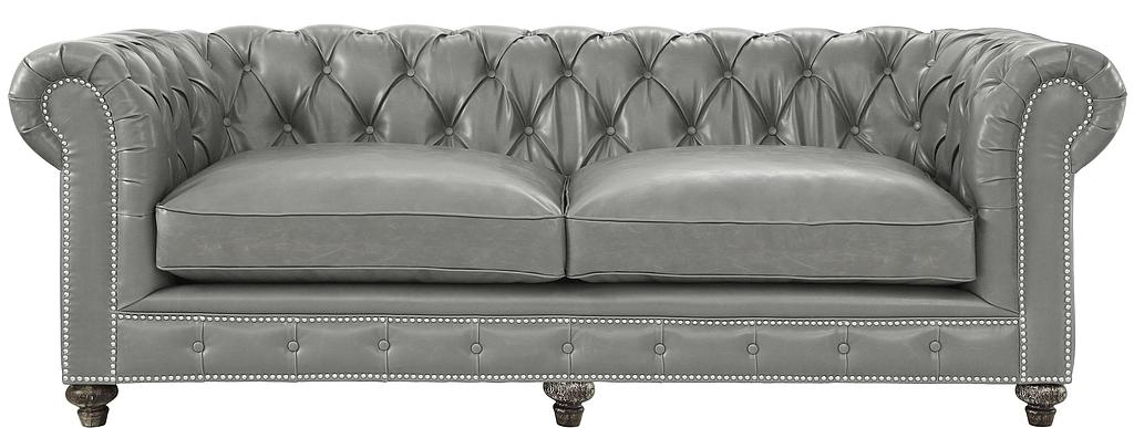 new grey leather couch available at Advanced Interior Designs
