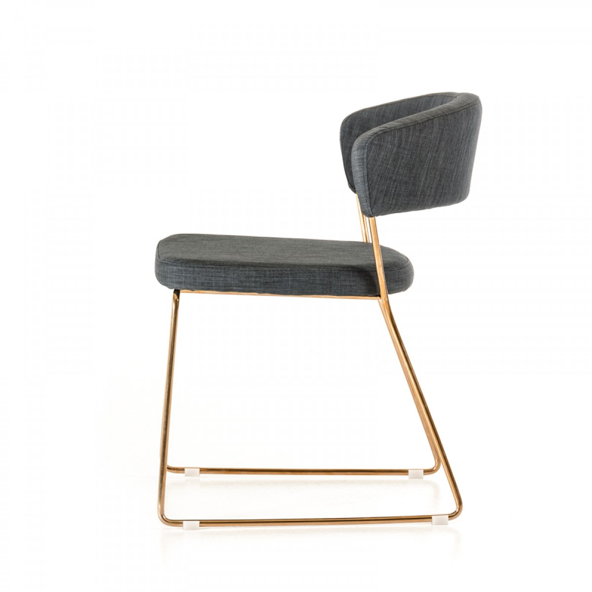 Check out the low priced grey modern dining chair we've got available with rose gold finish frame.