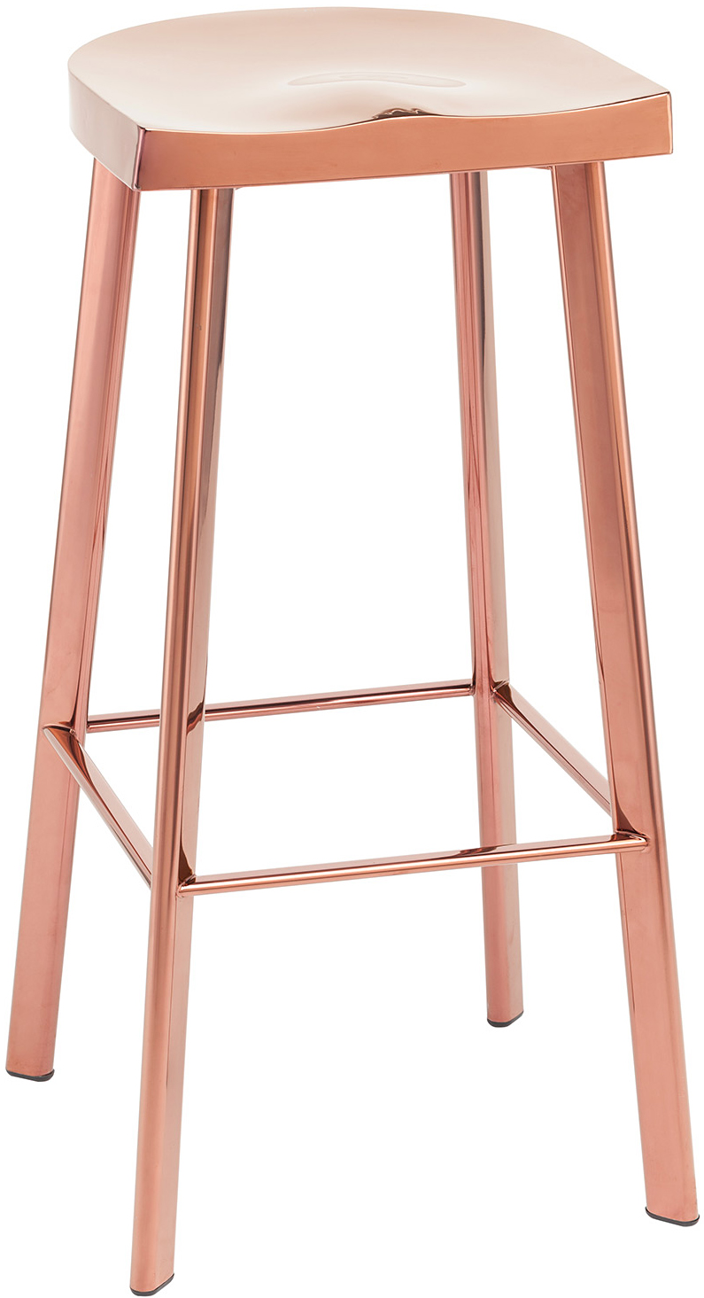 Nuevo Living Icon Bar Stool Rose Gold Stainless Steel