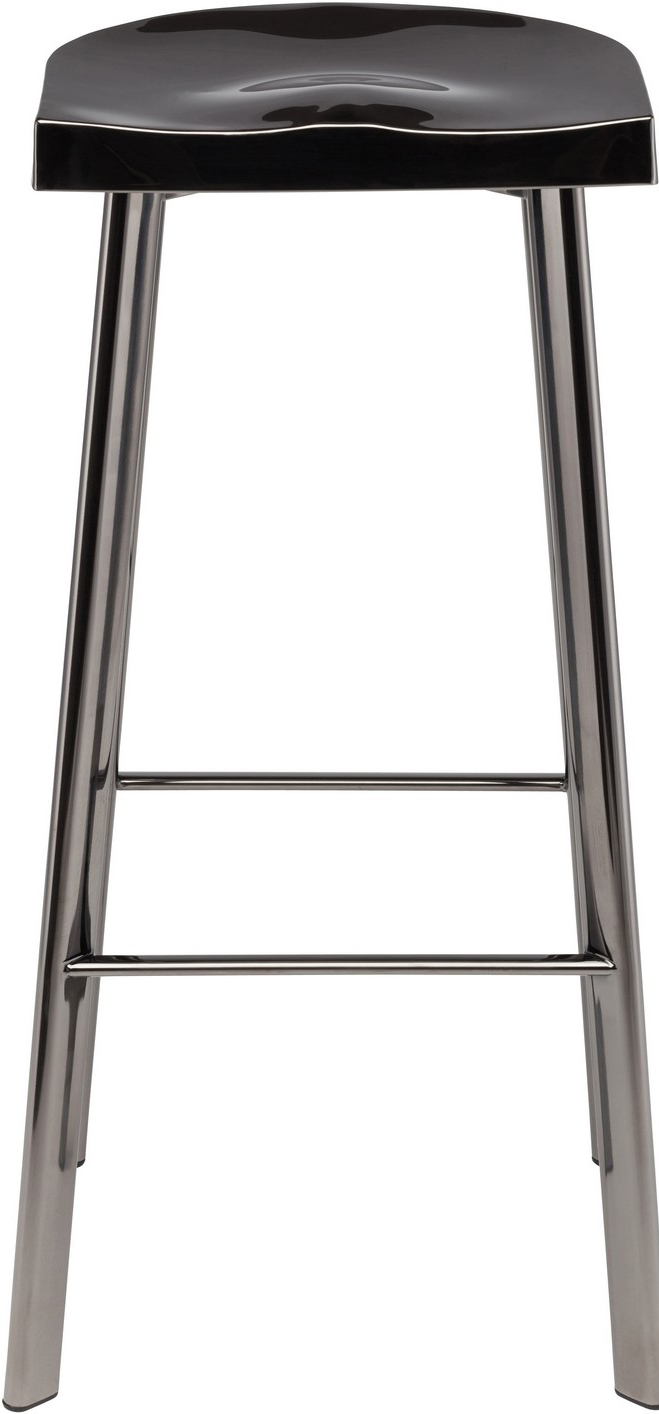 icon counter stool polished black stainless steel