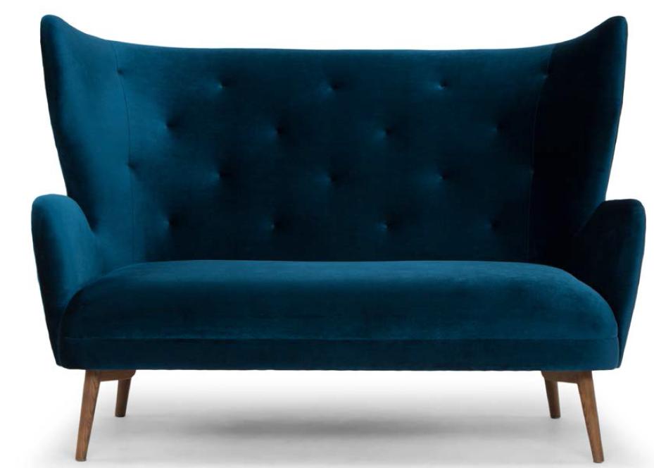 nuevo living's brand new klara mightnight blue two seater sofa
