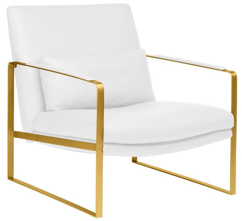 nuevo living leonardo lounger white brushed gold