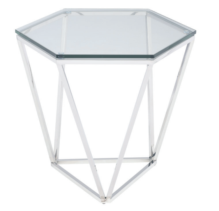 nuevo living louisa side table in polished stainless steel