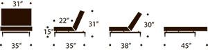 measurements splitback chair