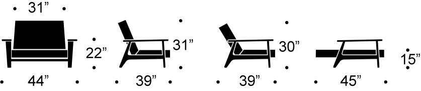 splitback frej chair measurments