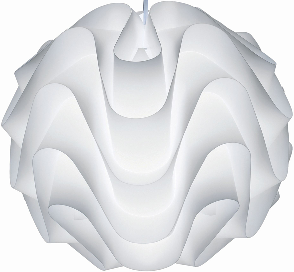 "The Nuevo Living Meringue Pendant Lamp is available in 17"" and 26""."